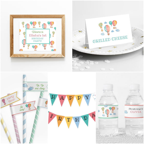 Hot Air Balloons Kids Party Decor Package Printables