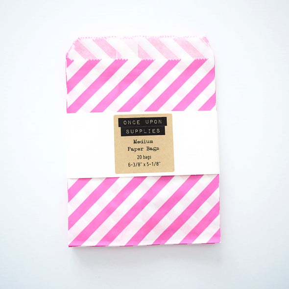 Medium Hot Pink Stripes Party Favor Paper Pouches - Once Upon Supplies - 2