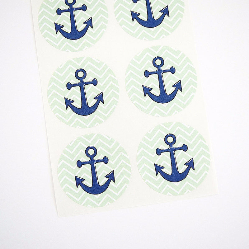 Nautical Theme Green Chevron Stripes Anchor Round Stickers - Once Upon Supplies - 1