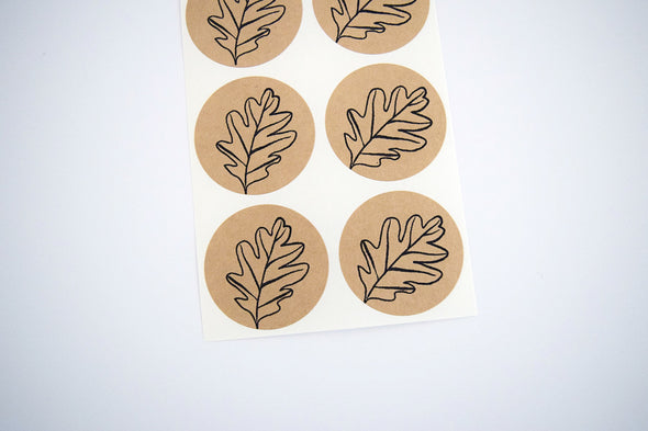 Autumn Leaf Stickers Kraft Brown Stickers - Once Upon Supplies - 3