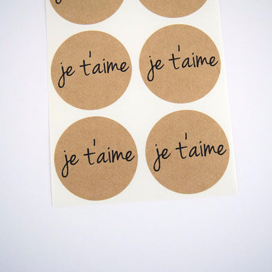 Je T'aime Kraft Round Stickers - Once Upon Supplies - 1