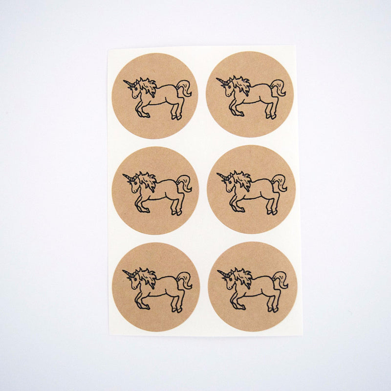 Unicorn Round Kraft Stickers - Once Upon Supplies - 1