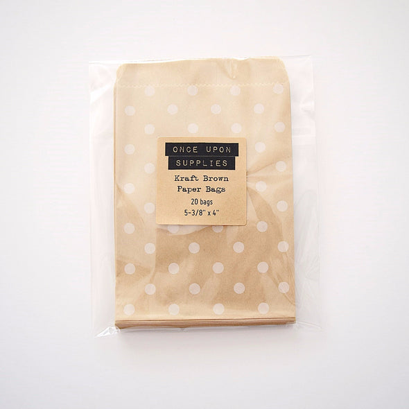 Kraft Brown Polka Dots Party Favor Bags - Once Upon Supplies - 1