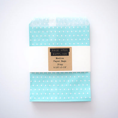 Medium Light Blue Polka Dots Birthday Party Treat Bags Favor Pouches - Once Upon Supplies - 1