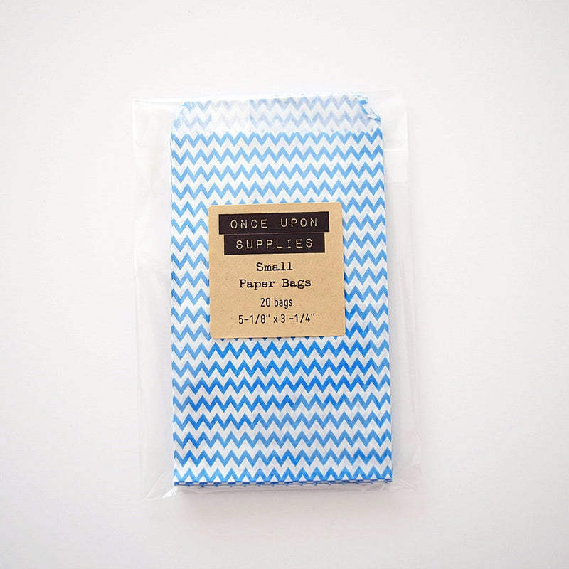 Small Blue and White Candy Treat Bags - Once Upon Supplies - 1