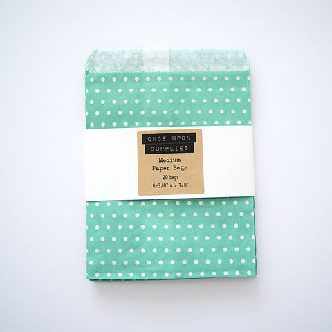 Medium Green Polka Dots Party Favor Treat Bags Envelopes - Once Upon Supplies - 1