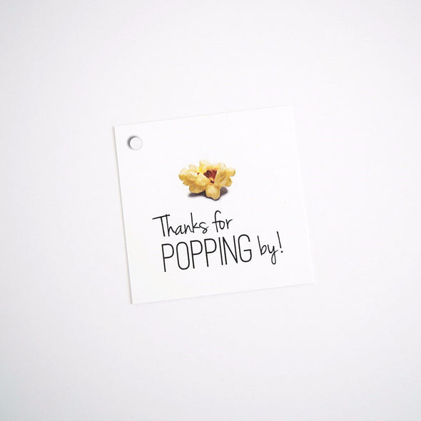 Thanks for Popping By Tags - Popcorn Gift Tags | Once Upon Supplies