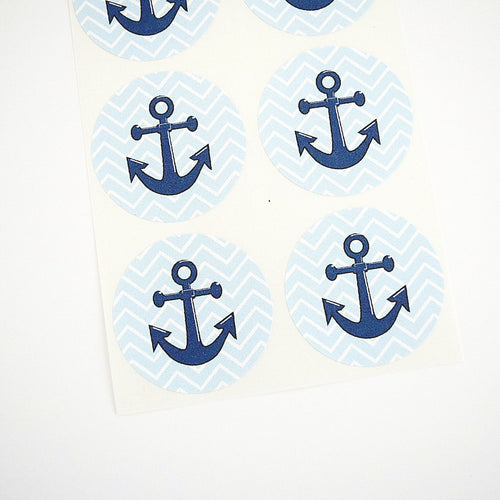 Blue Aqua Chevron Anchor Stickers - Once Upon Supplies - 1