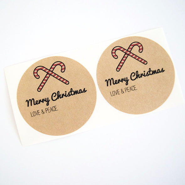 Merry Christmas Candy Canes Mason Jar Labels - Once Upon Supplies - 1