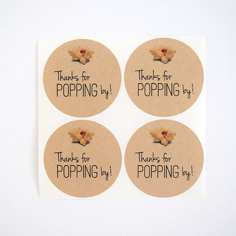 Thanks for Popping By Stickers - Popcorn Labels | Once Upon Supplies