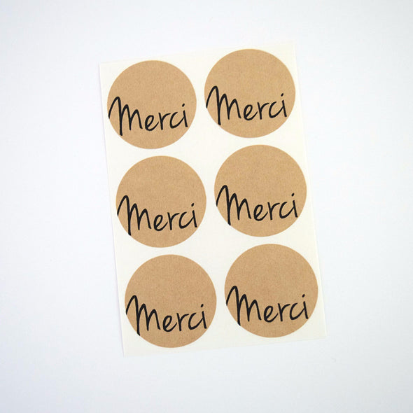 Merci Stickers - Kraft Brown - Once Upon Supplies