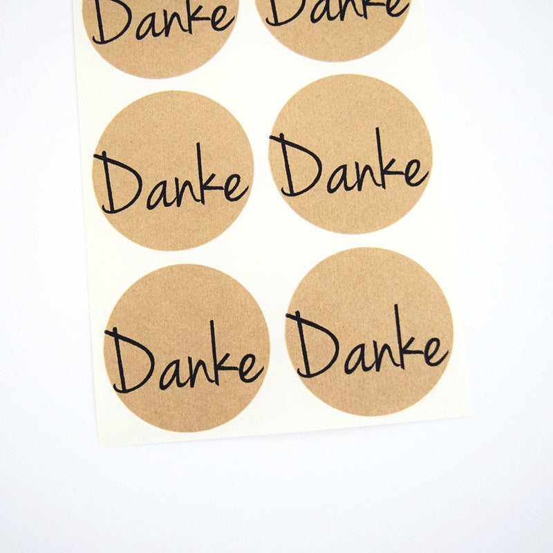 Danke Thanks Kraft Round Stickers - Once Upon Supplies - 1