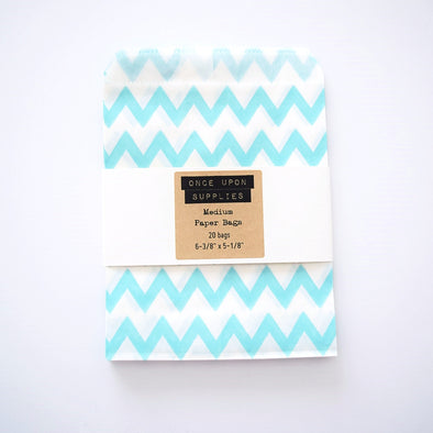 Medium Light Blue Chevron Zigzag Stripes Candy Treat Bags - Once Upon Supplies - 1