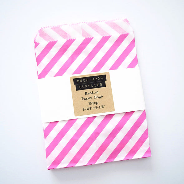 Medium Hot Pink Stripes Party Favor Paper Pouches - Once Upon Supplies - 1