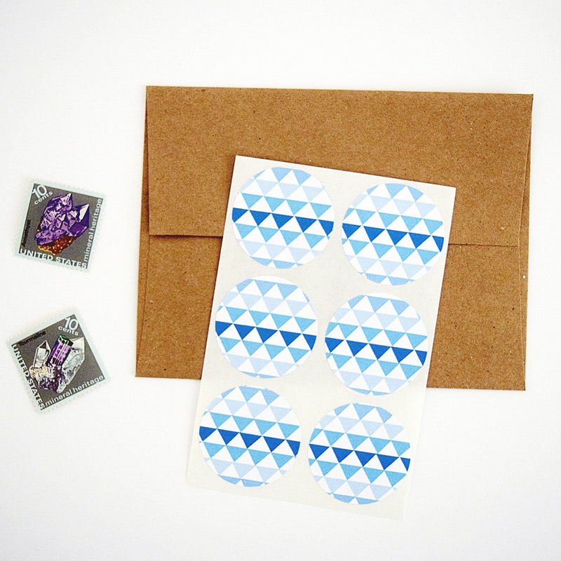 Blue Tribal Geometric Triangles Stickers - Once Upon Supplies - 1
