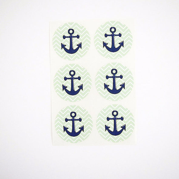 Nautical Theme Green Chevron Stripes Anchor Round Stickers - Once Upon Supplies - 2