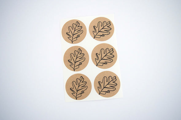 Autumn Leaf Stickers Kraft Brown Stickers - Once Upon Supplies - 2