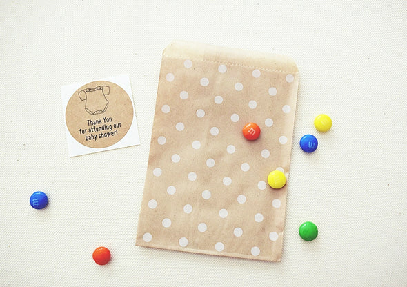 Kraft Brown Polka Dots Party Favor Bags - Once Upon Supplies - 3