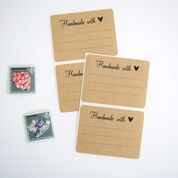 Handmade with Love Gift Labels - Rustic Rectangle Gift Labels - Once Upon Supplies