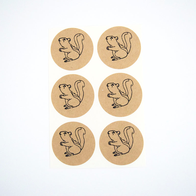 Woodland Squirrels Rustick Kraft Stickers - Once Upon Supplies - 1