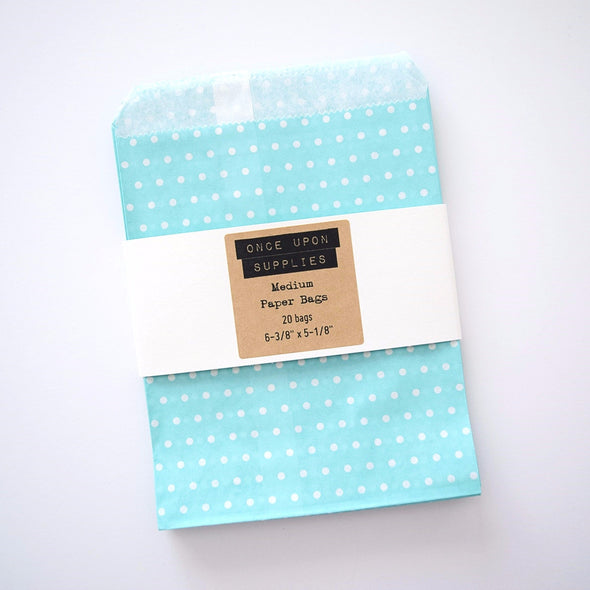 Medium Light Blue Polka Dots Birthday Party Treat Bags Favor Pouches - Once Upon Supplies - 4