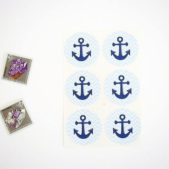 Blue Aqua Chevron Anchor Stickers - Once Upon Supplies - 2