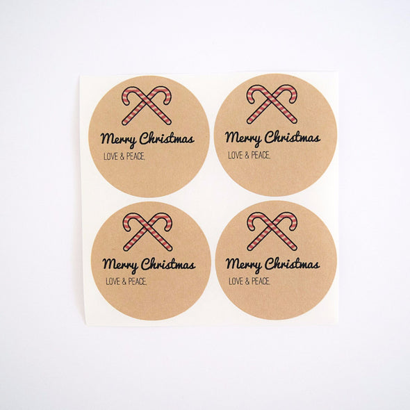 Merry Christmas Candy Canes Mason Jar Labels - Once Upon Supplies - 2