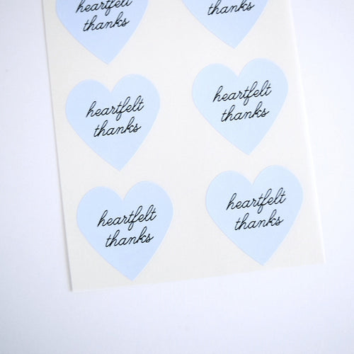 Blue Heartfelt Thanks Heart Stickers