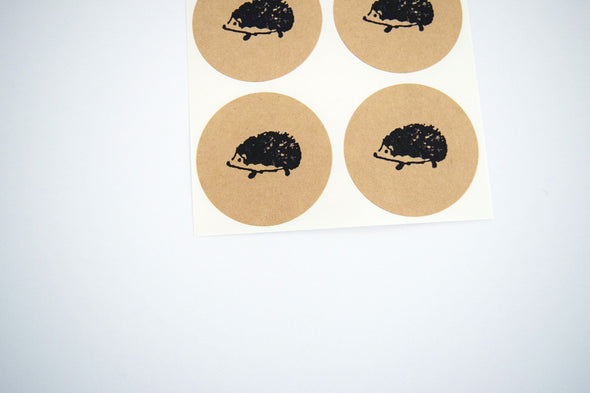 Hedgehog Stickers on Rustic Kraft Brown Paper - Once Upon Supplies