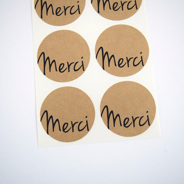 Rustic Brown Merci Stickers - Once Upon Supplies
