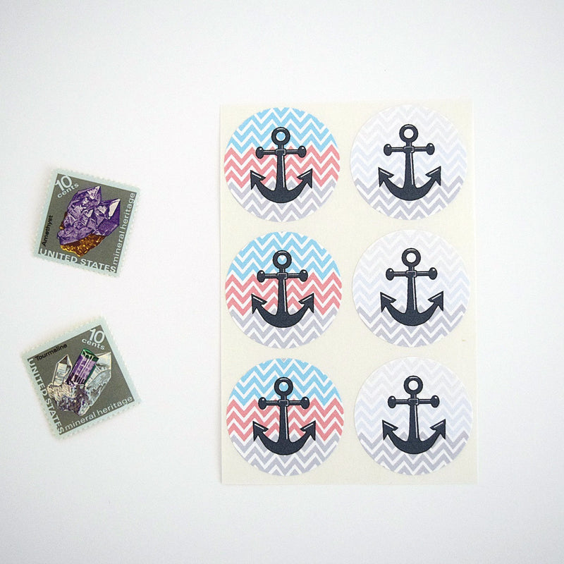 Red White & Blue Nautical Anchor Stickers Stripes - Once Upon Supplies - 1