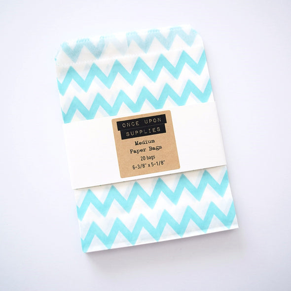 Medium Light Blue Chevron Zigzag Stripes Candy Treat Bags - Once Upon Supplies - 2