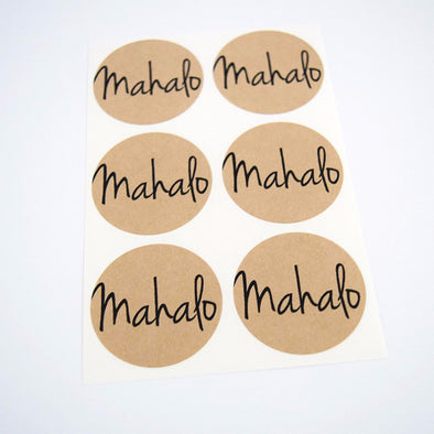 Mahalo Thanks Kraft Round Stickers - Once Upon Supplies - 1