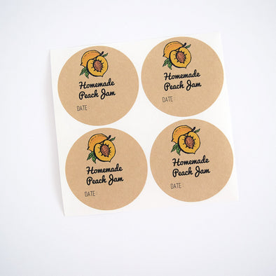 Peach Jam Round Mason Jar Labels - Once Upon Supplies - 1