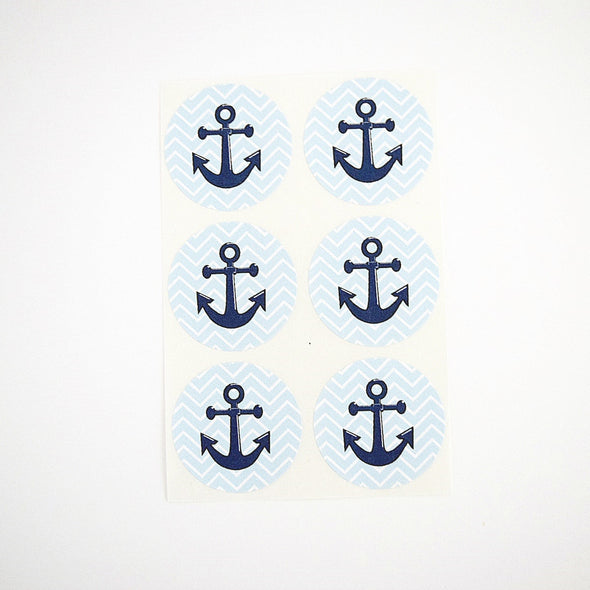 Blue Aqua Chevron Anchor Stickers - Once Upon Supplies - 3