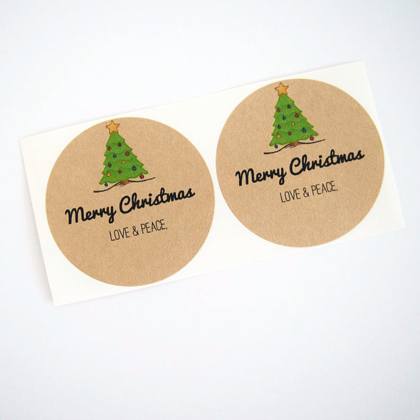 Merry Christmas Tree Mason Jar Labels / Holiday Labels Stickers Envelope Seals - Once Upon Supplies - 1