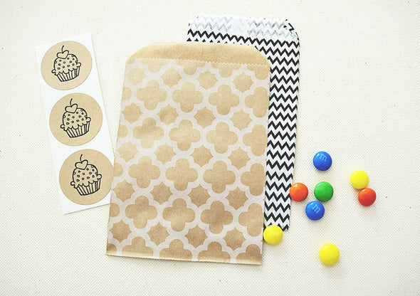 Craft Brown Moroccan Pattern Favor Bags - Once Upon Supplies - 5