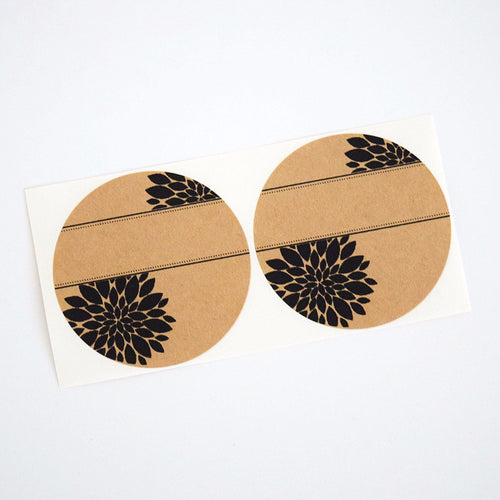 Pretty Round Labels with Mum Flower - Spice Labels Pantry Labels