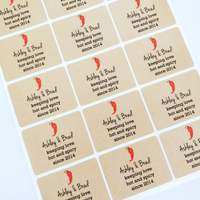 keeping love hot and spicy rectangle wedding favor labels
