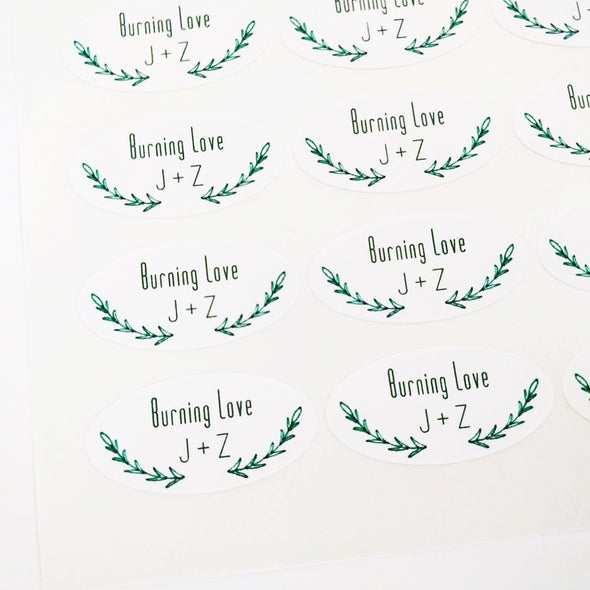 Green Vines Laurel Oval Stickers for Wedding Favors | Once Upon Supplies
