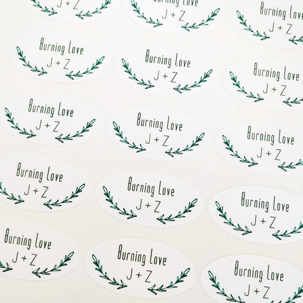 Custom Oval Labels for Wedding Favors with Hand Sketched Green Vines Laurel Design | Once Upon Supplies