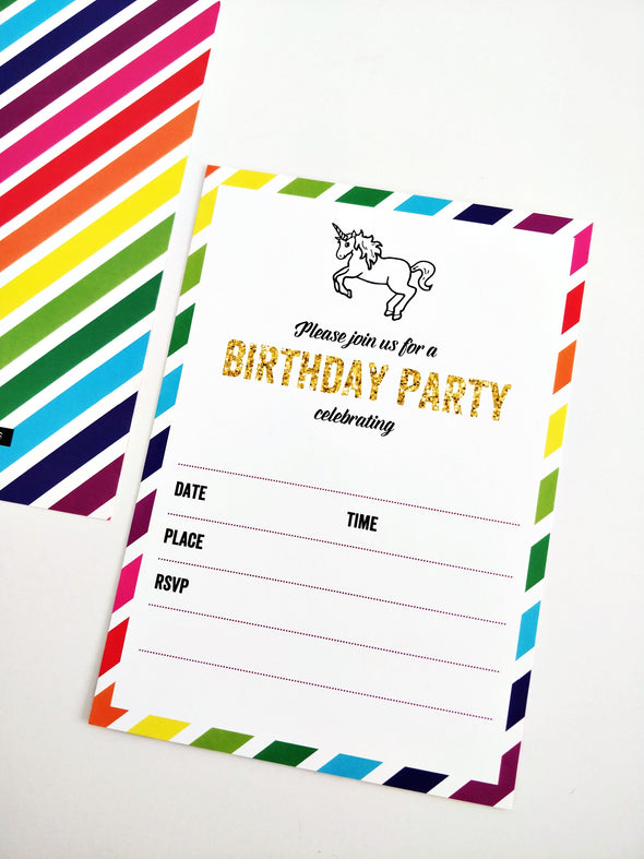 Rainbow Unicorn Kids Party Invites | Once Upon Supplies