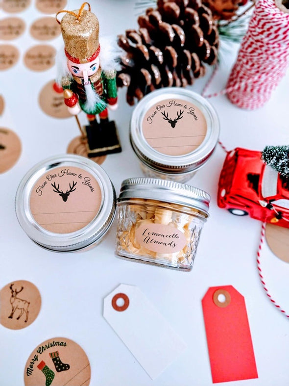 Rustic Deer Christmas Labels for Canning Jars | Once Upon Supplies
