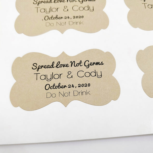 hand sanitizer labels for wedding favors