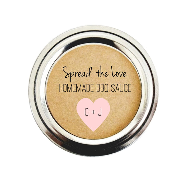 Spread the Love BBQ Sauce Labels for Wedding Favors, Pale Pink | Once Upon Supplies