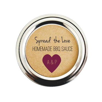 Spread the Love BBQ Sauce Labels for Wedding Favors, Burgundy Wine Color | Once Upon Supplies