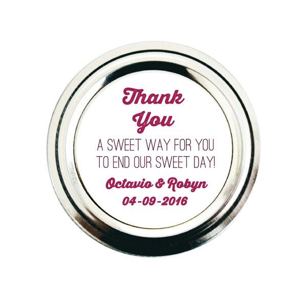 Wedding Favor Labels for Mason Jars | Sweet Way to End Sweet Day | Once Upon Supplies