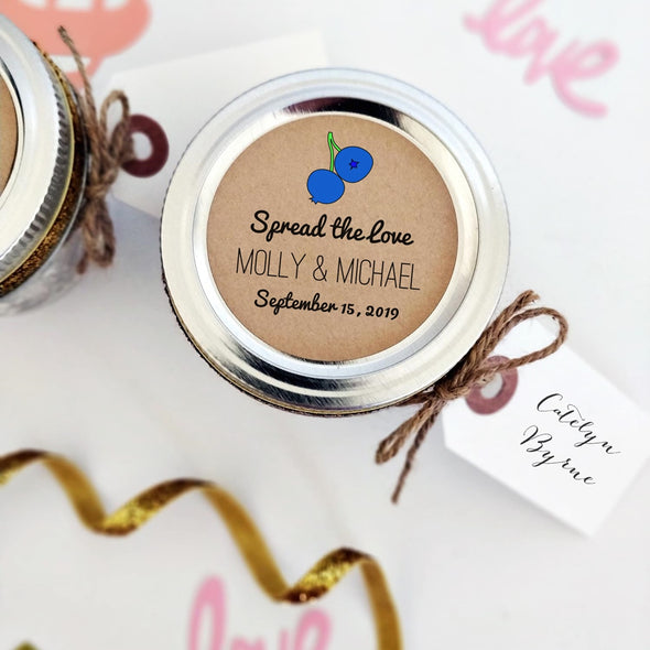 Blueberry Jam Wedding Mason Jar Labels | Spread the Love | Once Upon Supplies