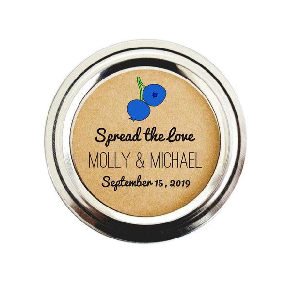 Blueberry Jam Wedding Mason Jar Labels - Once Upon Supplies