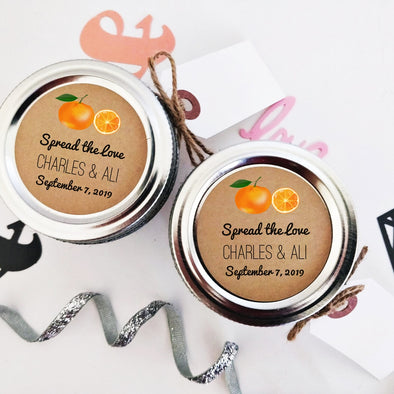 Orange Marmalade Canning Labels for Wedding Favors | Spread the Love Stickers | Once Upon Supplies